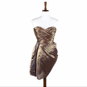 Calvin Klein Gold Formal Cocktail Dress Strapless
